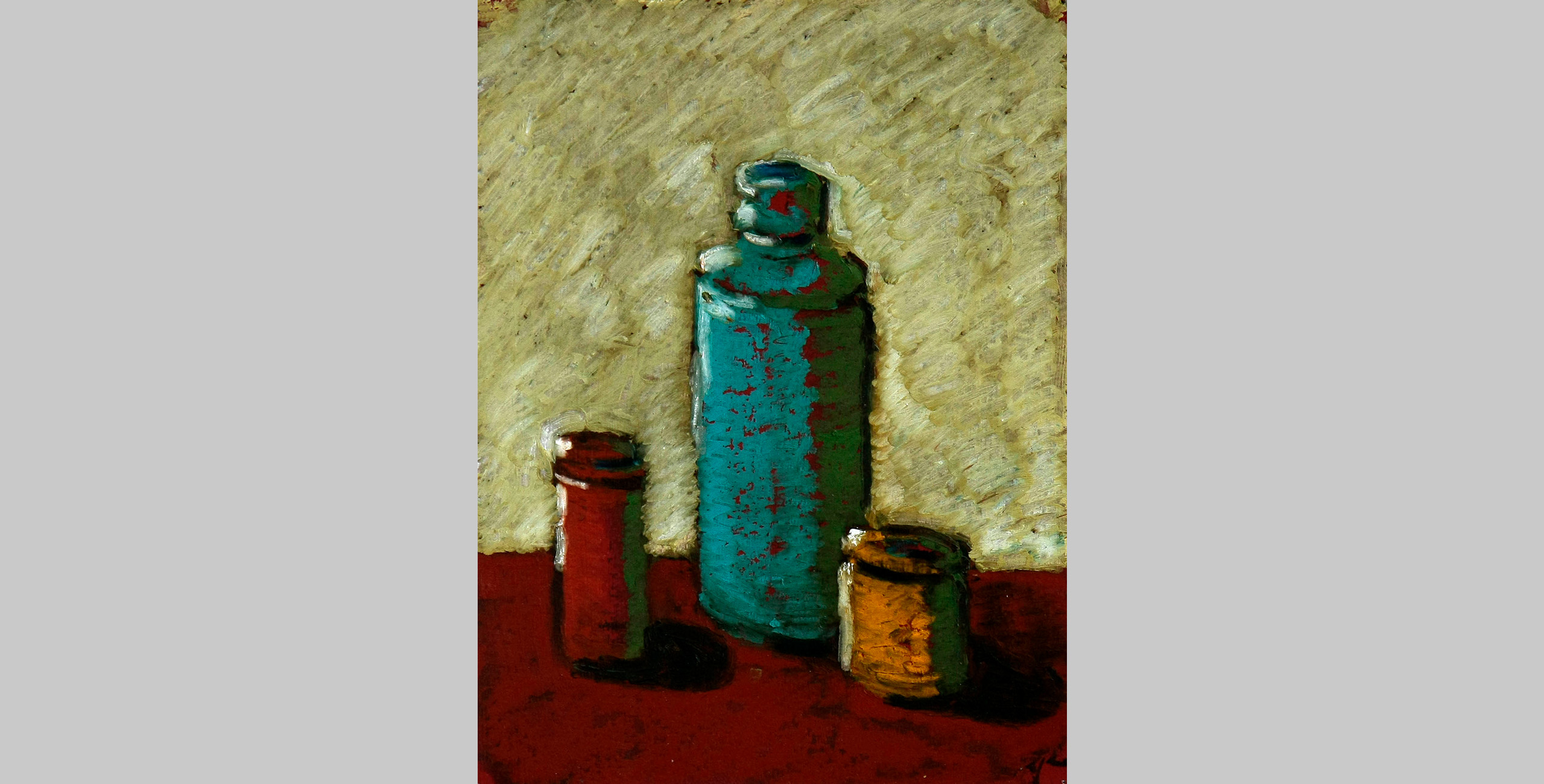 Still Life with Jars, 2009, oil bar on panel, 9 x 12 in.