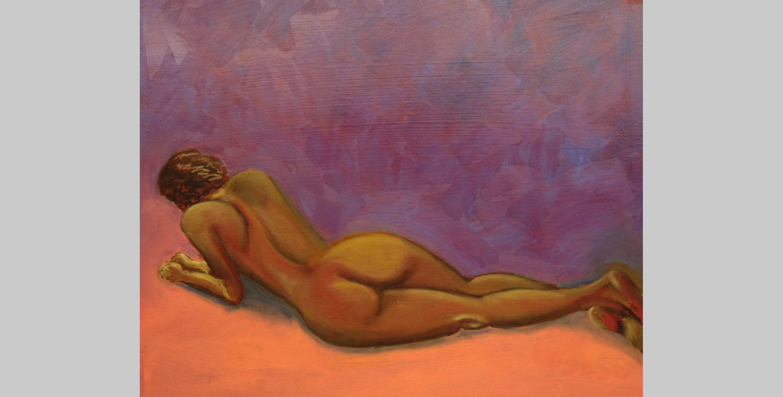Reclining Nude, 2009, oil bar on mat board, 16 x 20 in.
