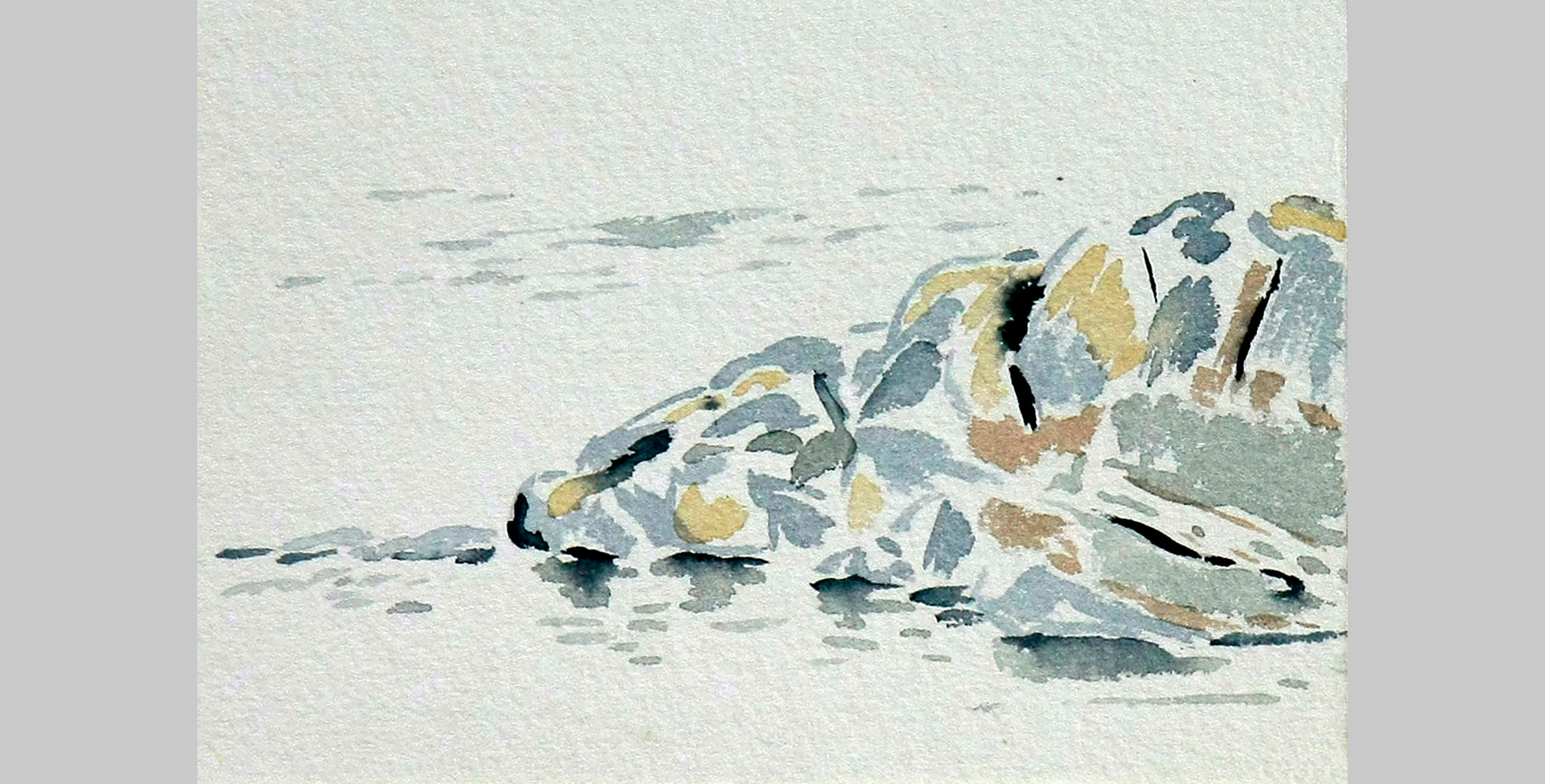 Beach Boulder, 2011, watercolor, 5 x 7 in.