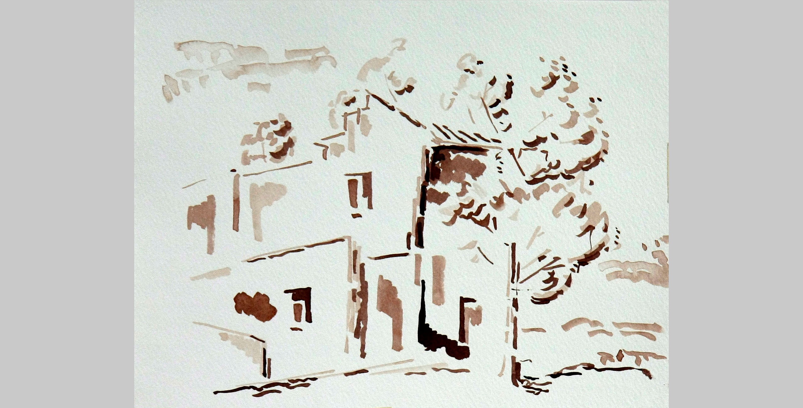 House in Full Sun, 2011, ink on paper