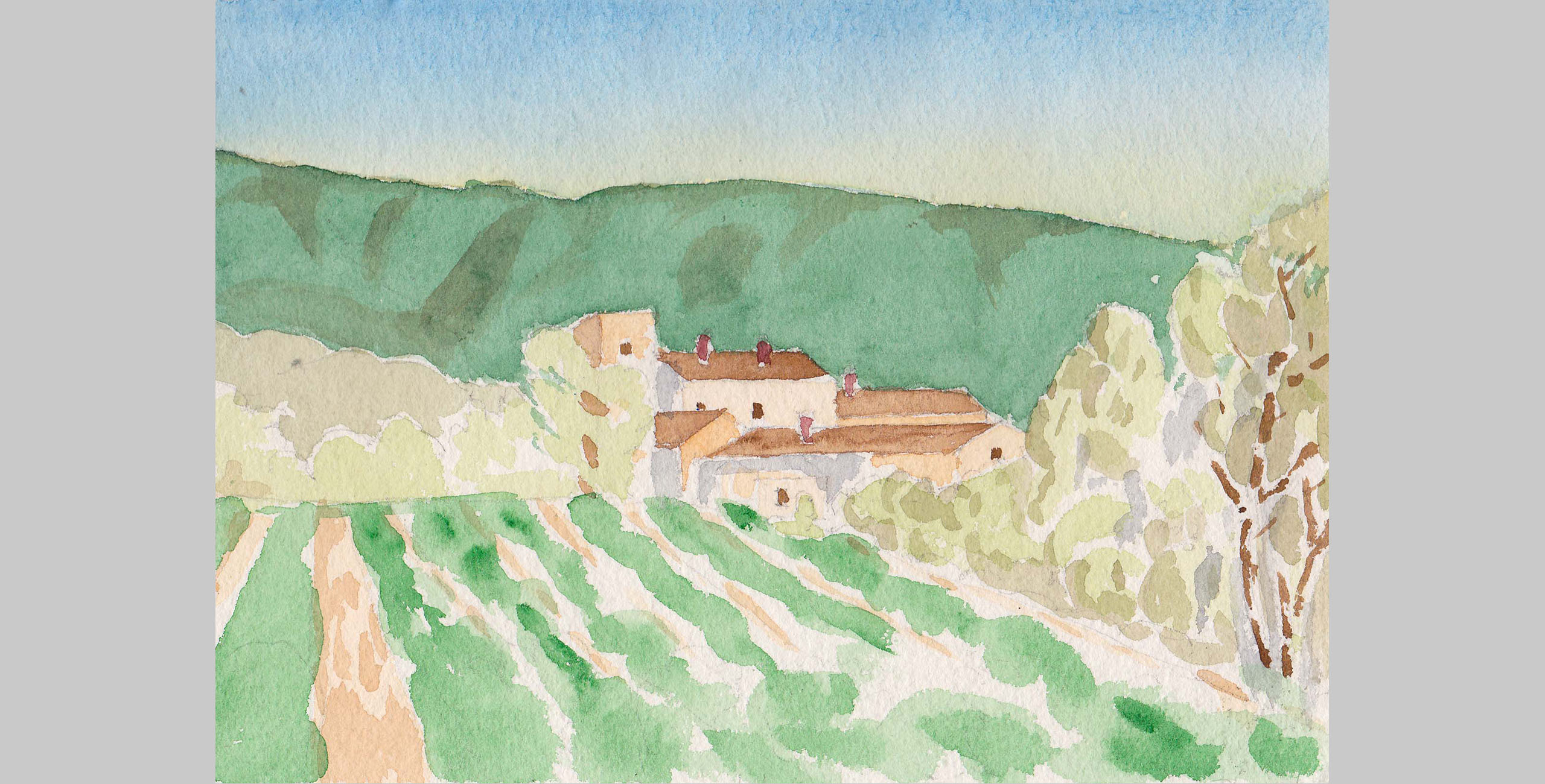 France 2, 2001, watercolor, 5 x 7 in.