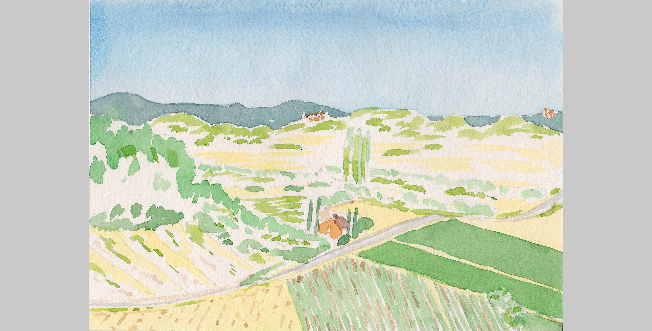France 4, 2001, watercolor, 5 x 7 in.