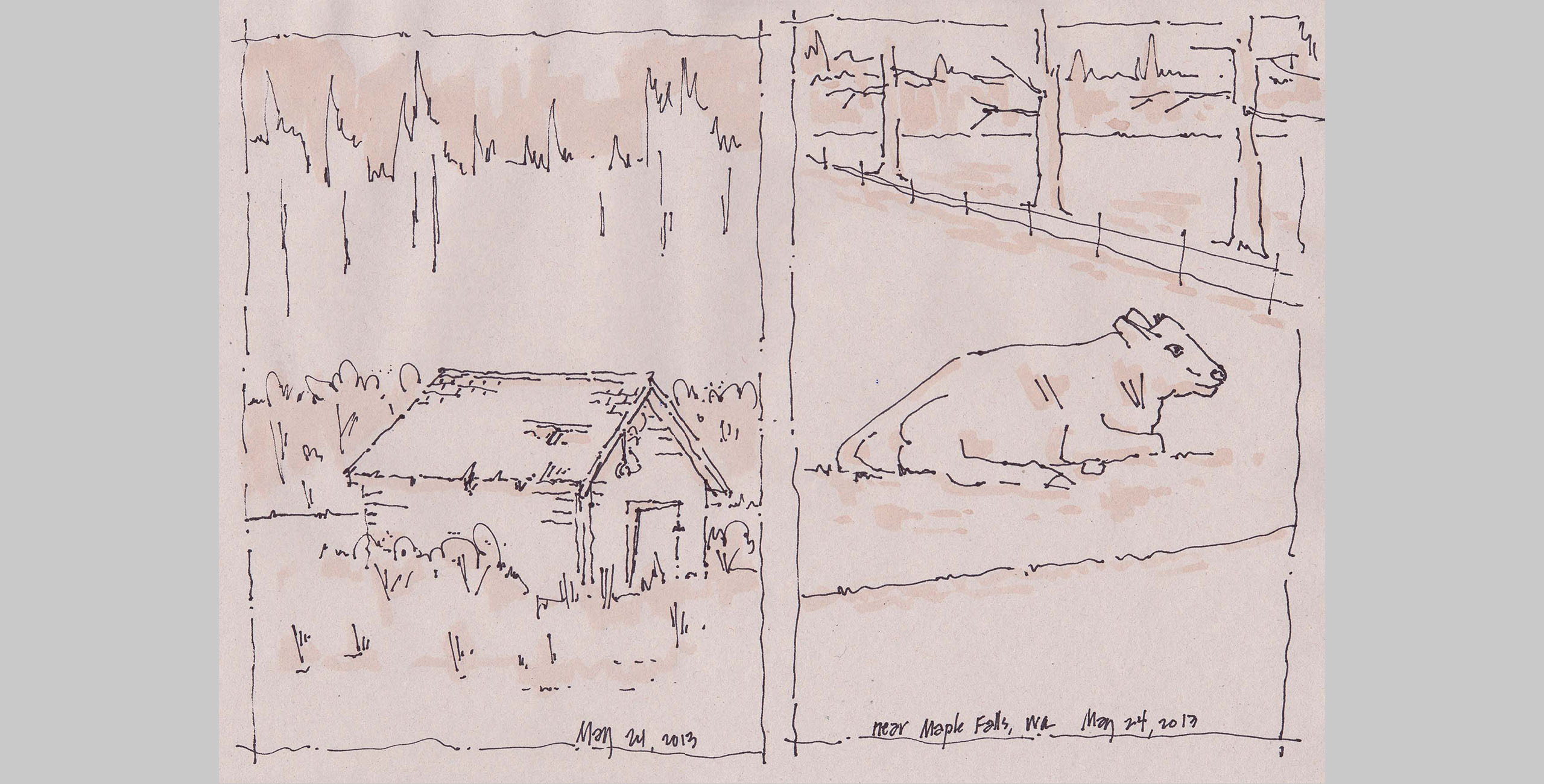 Landscape 4, 2013, pen and ink on paper