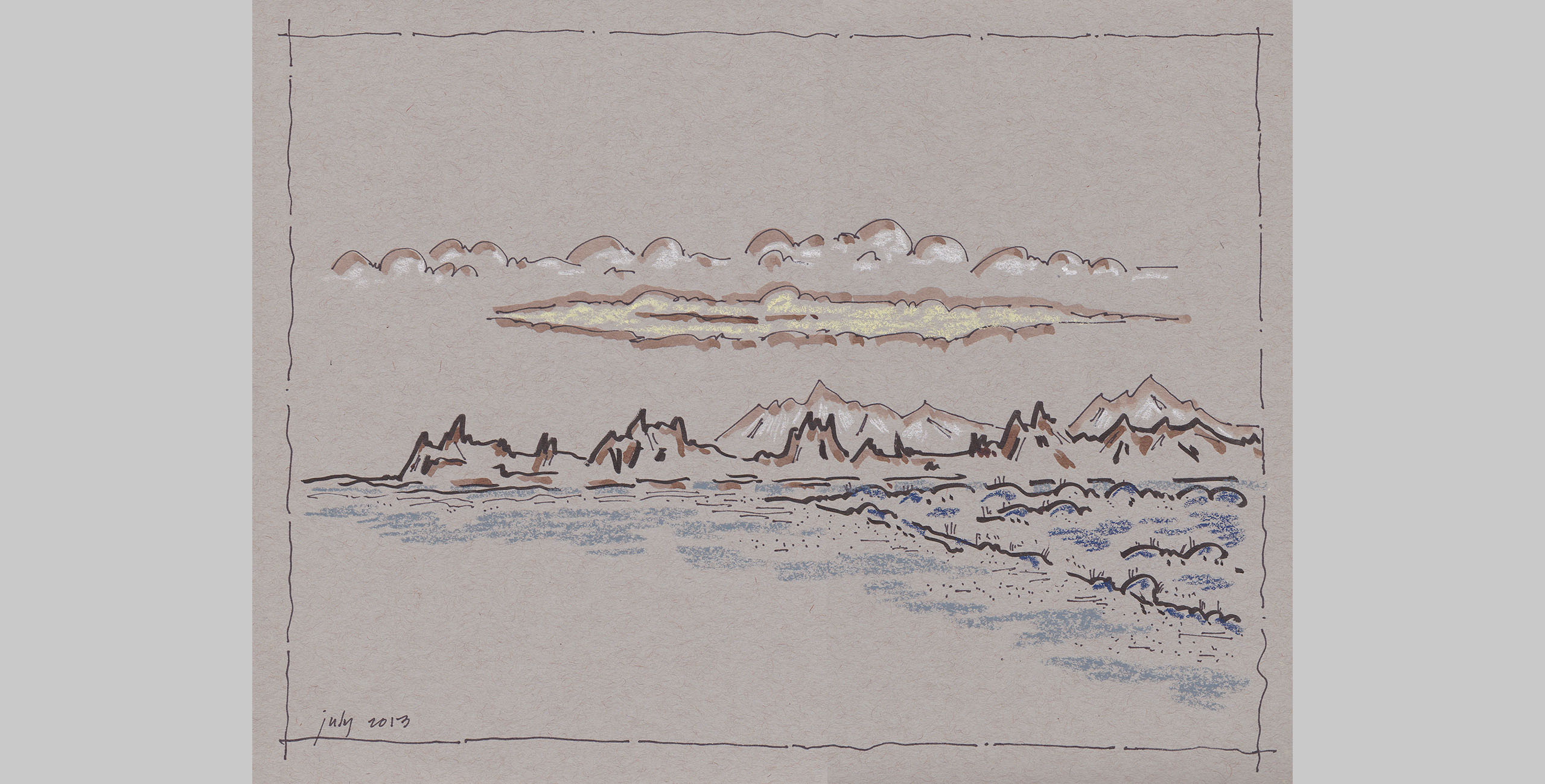 Landscape 16, 2014, pen, ink and pastel on paper