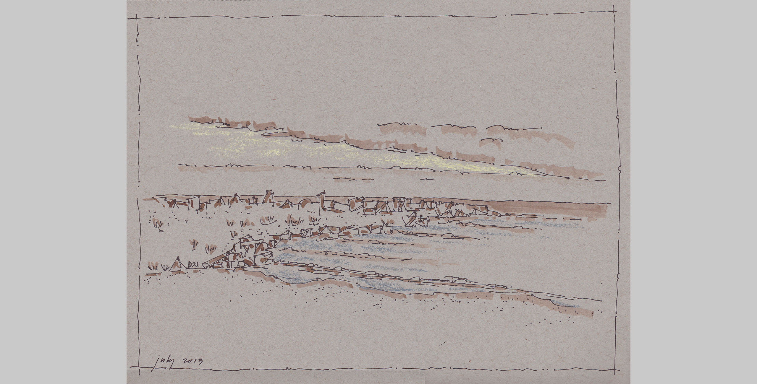Landscape 17, 2014, pen, ink and pastel on paper